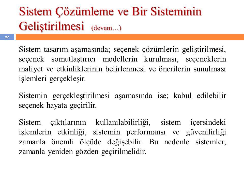Sistem Çözümleme ve Bir Sisteminin Geliştirilmesi (devam…)