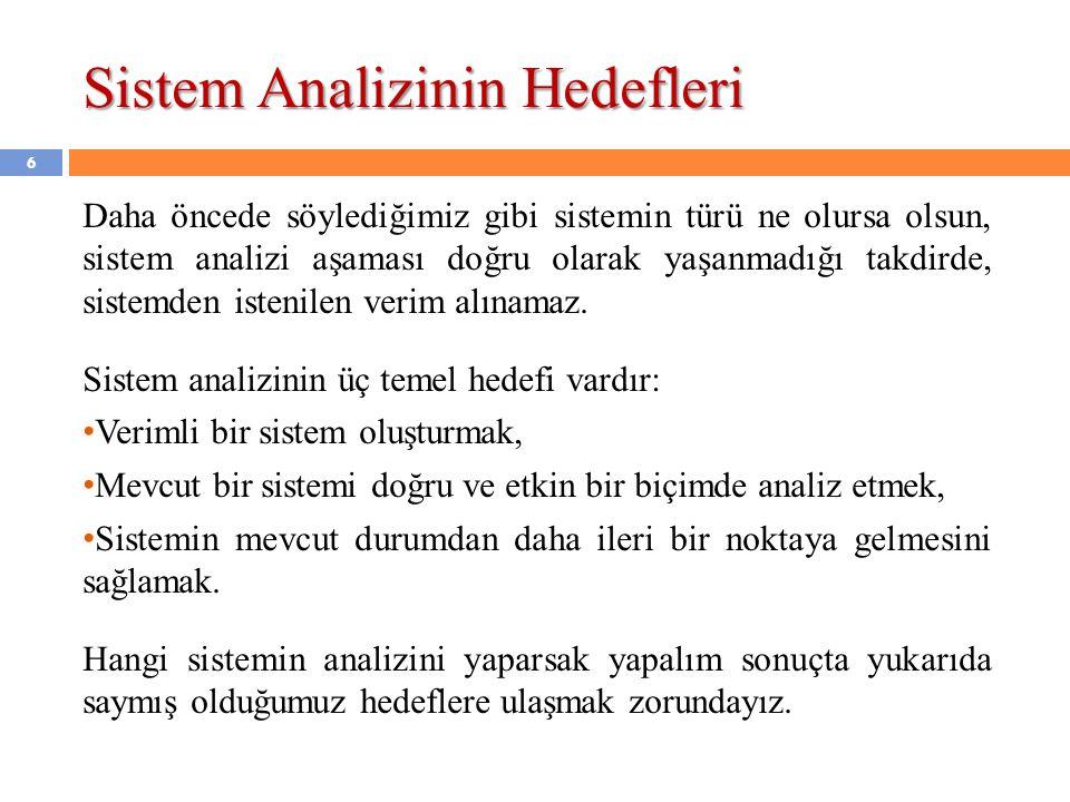 Sistem Analizinin Hedefleri