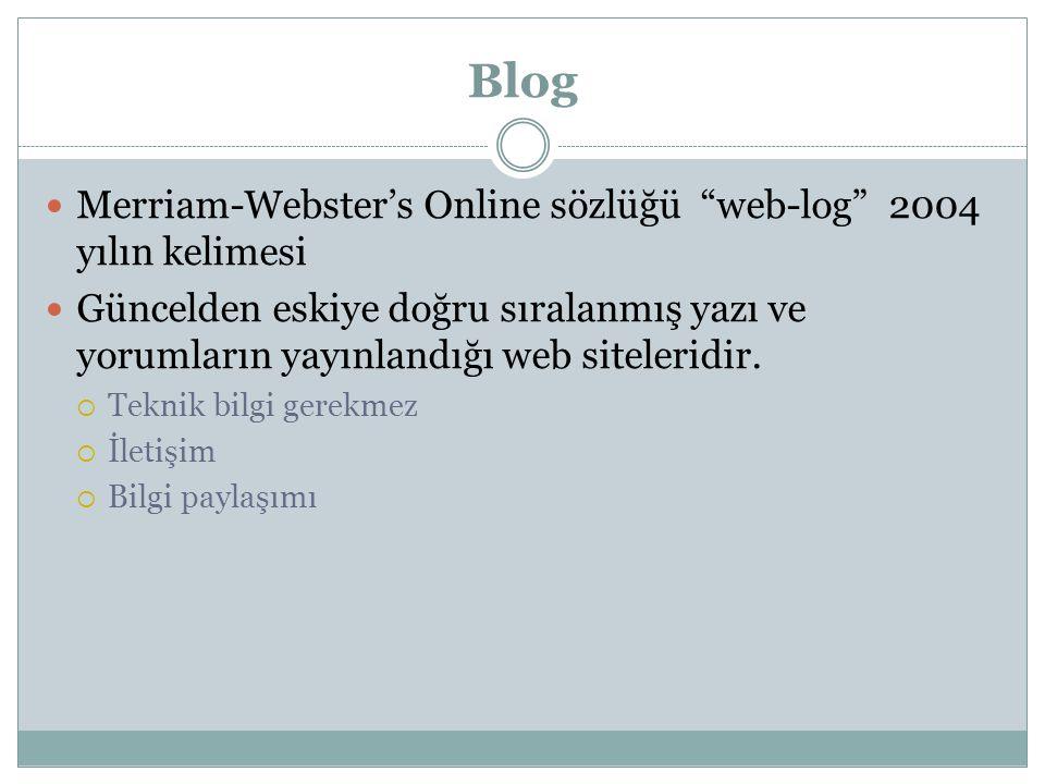 Blog Merriam-Webster's Online sözlüğü web-log 2004 yılın kelimesi
