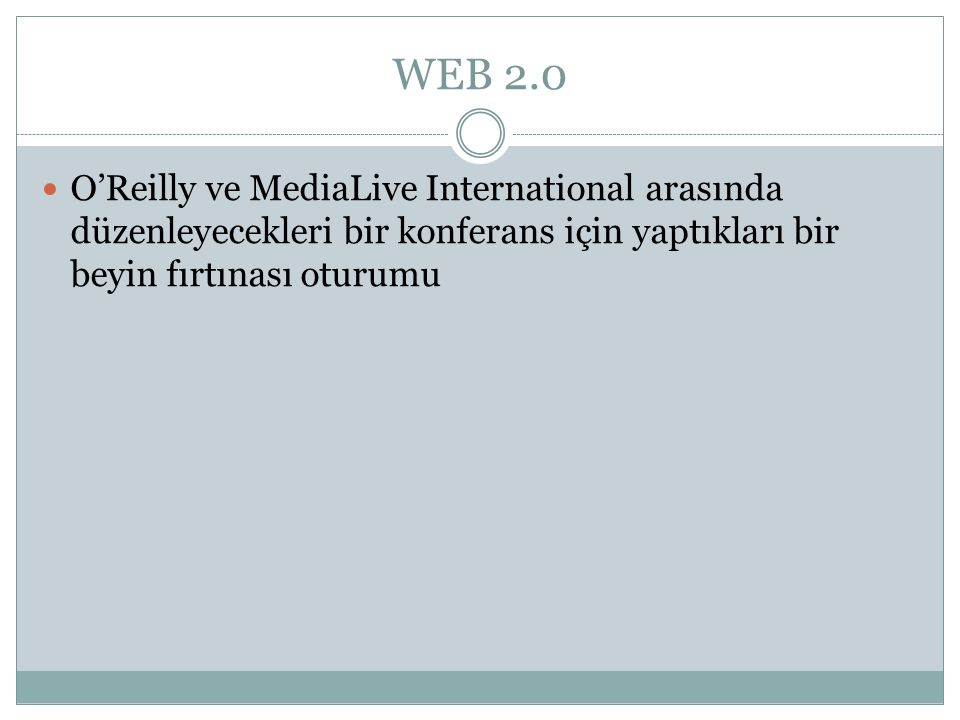 WEB 2.0 O'Reilly ve MediaLive International arasında düzenleyecekleri bir konferans için yaptıkları bir beyin fırtınası oturumu.
