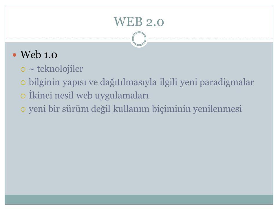 WEB 2.0 Web 1.0. ~ teknolojiler. bilginin yapısı ve dağıtılmasıyla ilgili yeni paradigmalar. İkinci nesil web uygulamaları.