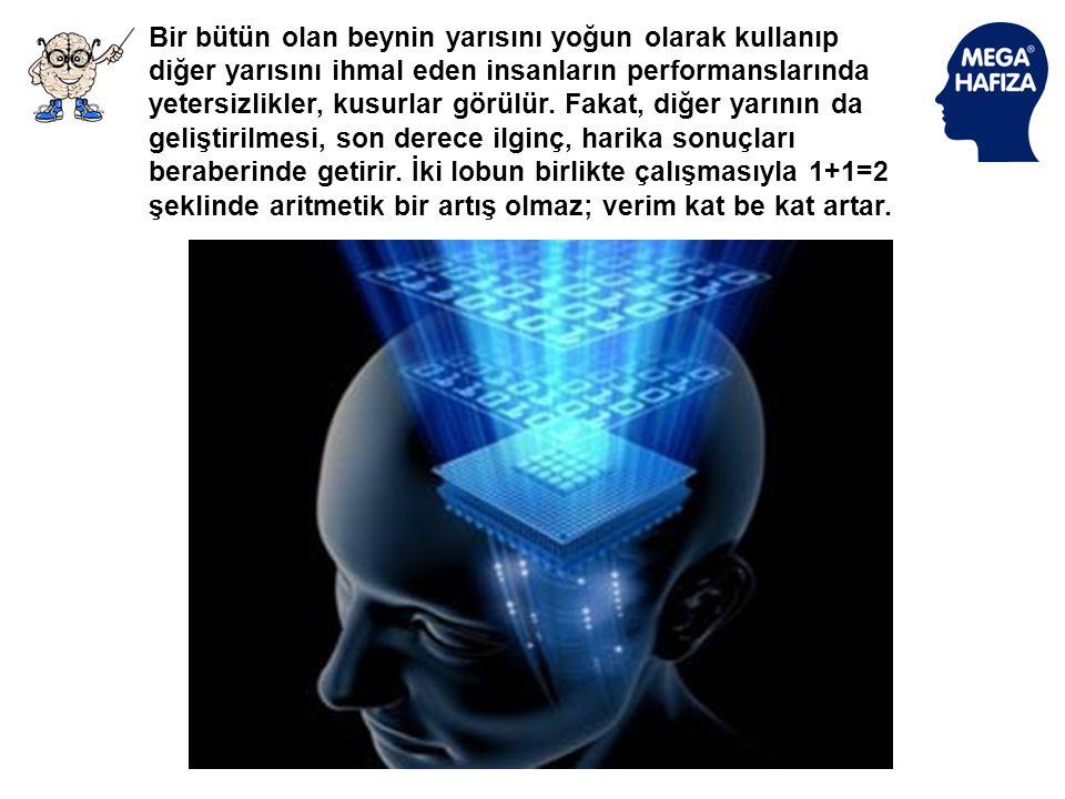 Bir bütün olan beynin yarısını yoğun olarak kullanıp diğer yarısını ihmal eden insanların performanslarında yetersizlikler, kusurlar görülür.