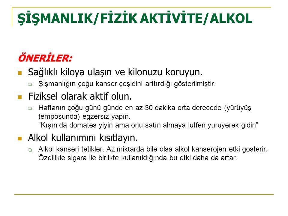 ŞİŞMANLIK/FİZİK AKTİVİTE/ALKOL