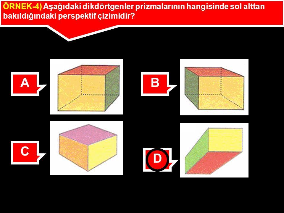ÖRNEK-4) Aşağıdaki dikdörtgenler prizmalarının hangisinde sol alttan bakıldığındaki perspektif çizimidir