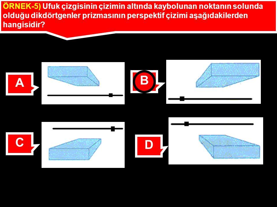 ÖRNEK-5) Ufuk çizgisinin çizimin altında kaybolunan noktanın solunda olduğu dikdörtgenler prizmasının perspektif çizimi aşağıdakilerden hangisidir