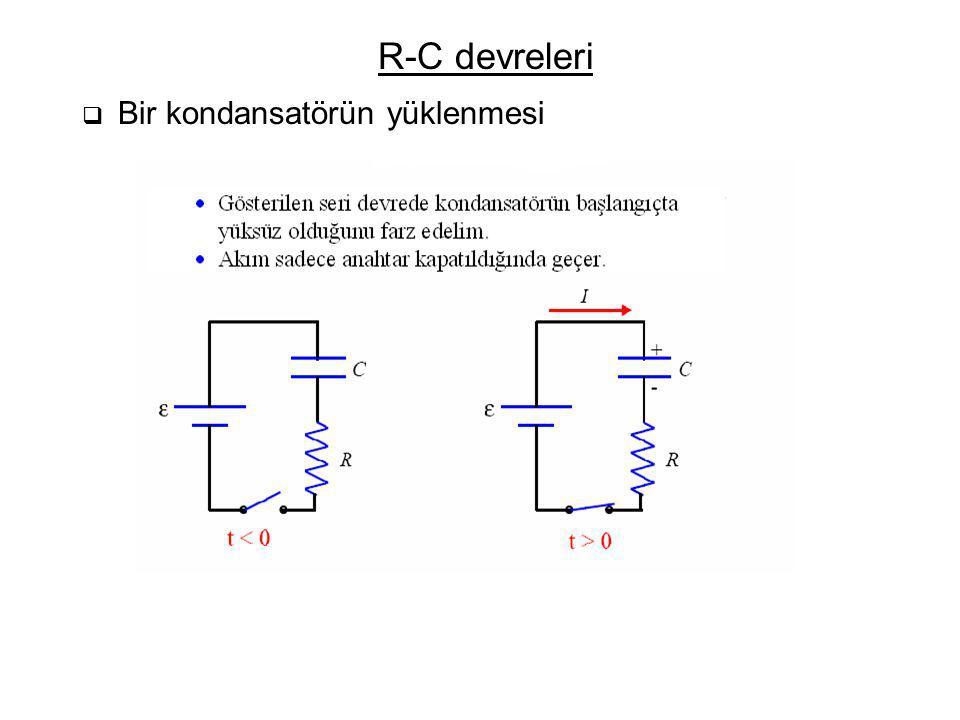 R-C devreleri Bir kondansatörün yüklenmesi