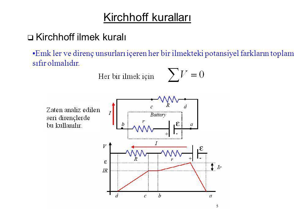Kirchhoff kuralları Kirchhoff ilmek kuralı. Emk ler ve direnç unsurları içeren her bir ilmekteki potansiyel farkların toplamı,