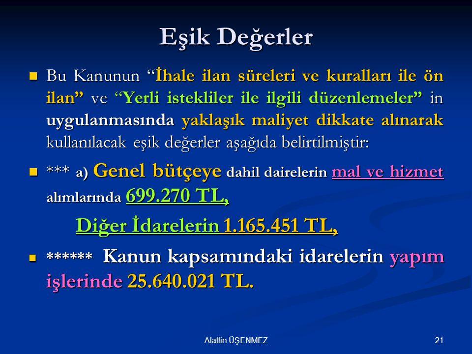 Eşik Değerler Diğer İdarelerin 1.165.451 TL,