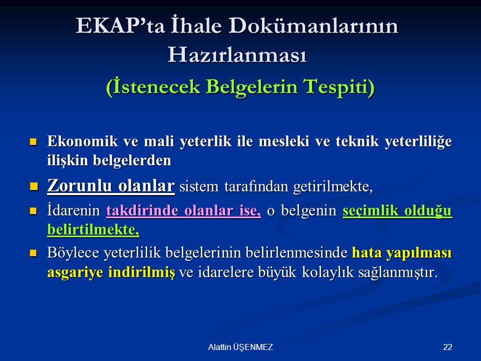 EKAP'ta İhale Dokümanlarının Hazırlanması (İstenecek Belgelerin Tespiti)