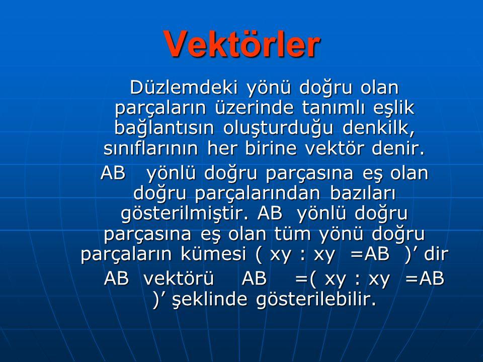 AB vektörü AB =( xy : xy =AB )' şeklinde gösterilebilir.