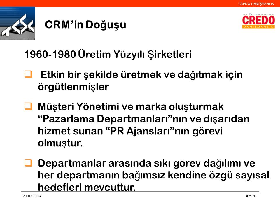 CRM'in Doğuşu 1960-1980 Üretim Yüzyılı Şirketleri