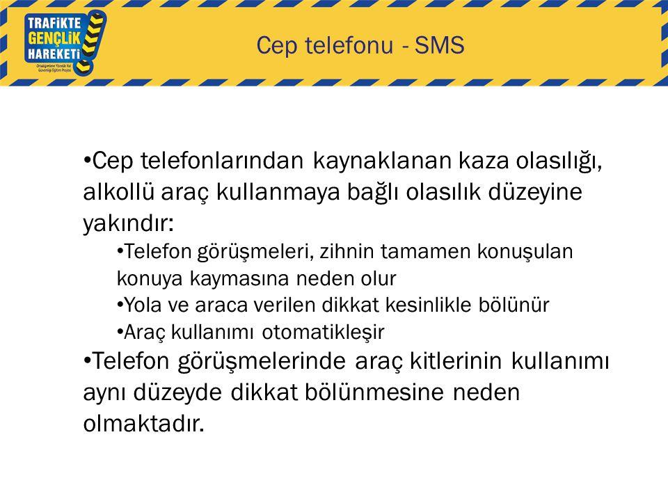 Cep telefonu - SMS Cep telefonlarından kaynaklanan kaza olasılığı, alkollü araç kullanmaya bağlı olasılık düzeyine yakındır: