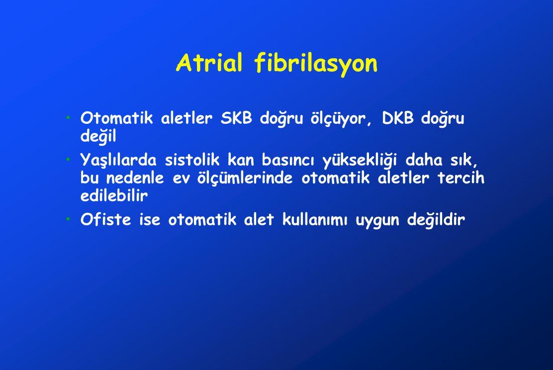 Atrial fibrilasyon Otomatik aletler SKB doğru ölçüyor, DKB doğru değil