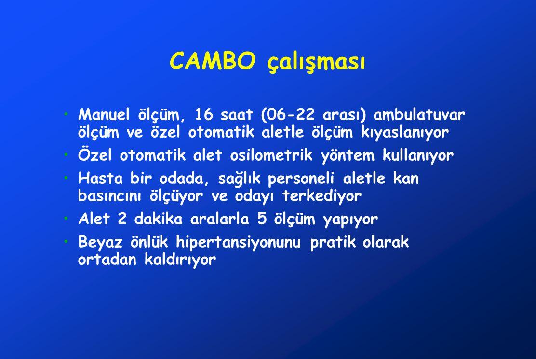 CAMBO çalışması Manuel ölçüm, 16 saat (06-22 arası) ambulatuvar ölçüm ve özel otomatik aletle ölçüm kıyaslanıyor.