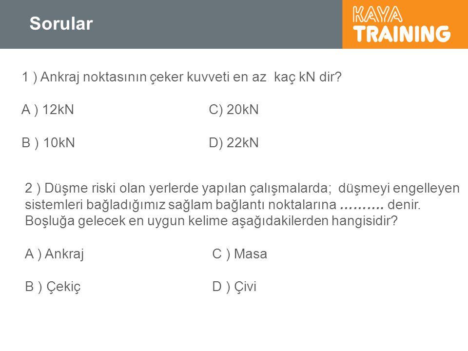 Sorular 1 ) Ankraj noktasının çeker kuvveti en az kaç kN dir