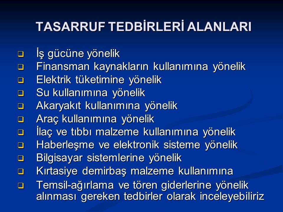 TASARRUF TEDBİRLERİ ALANLARI