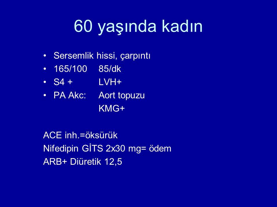 60 yaşında kadın Sersemlik hissi, çarpıntı 165/100 85/dk S4 + LVH+