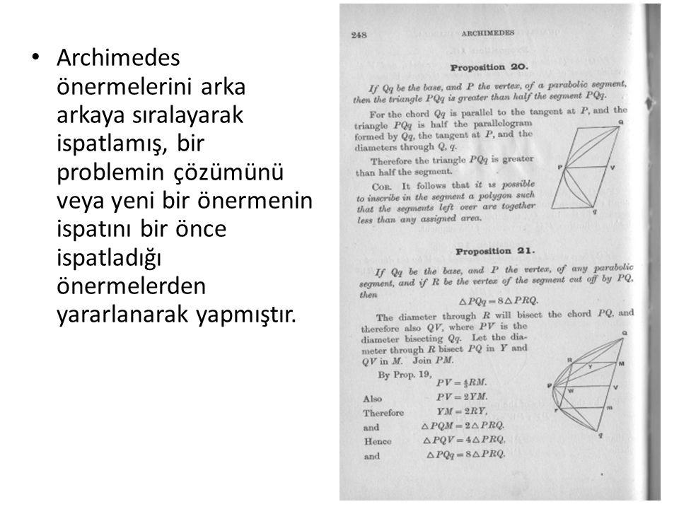 Archimedes önermelerini arka arkaya sıralayarak ispatlamış, bir problemin çözümünü veya yeni bir önermenin ispatını bir önce ispatladığı önermelerden yararlanarak yapmıştır.