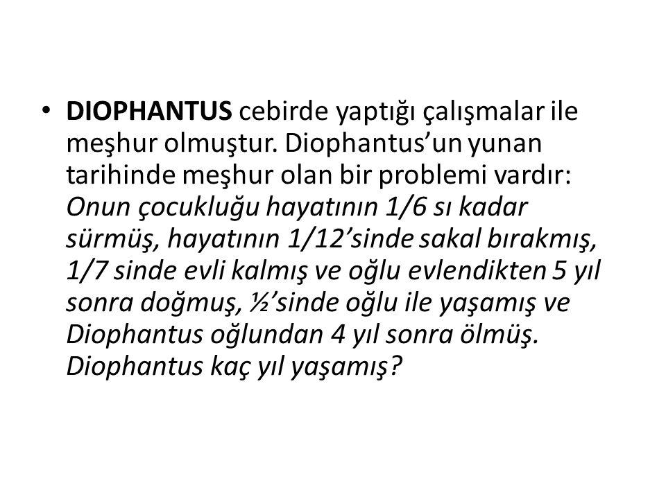 DIOPHANTUS cebirde yaptığı çalışmalar ile meşhur olmuştur