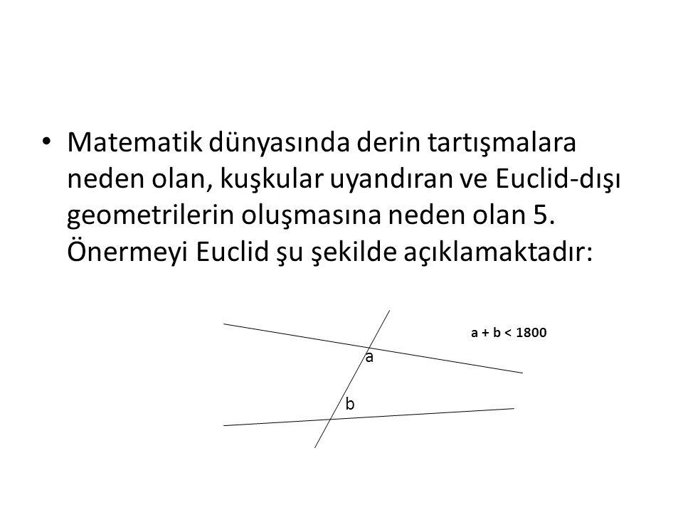Matematik dünyasında derin tartışmalara neden olan, kuşkular uyandıran ve Euclid-dışı geometrilerin oluşmasına neden olan 5. Önermeyi Euclid şu şekilde açıklamaktadır: