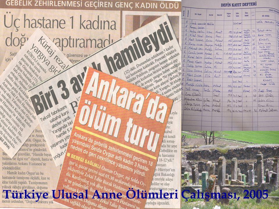 Türkiye Ulusal Anne Ölümleri Çalışması, 2005