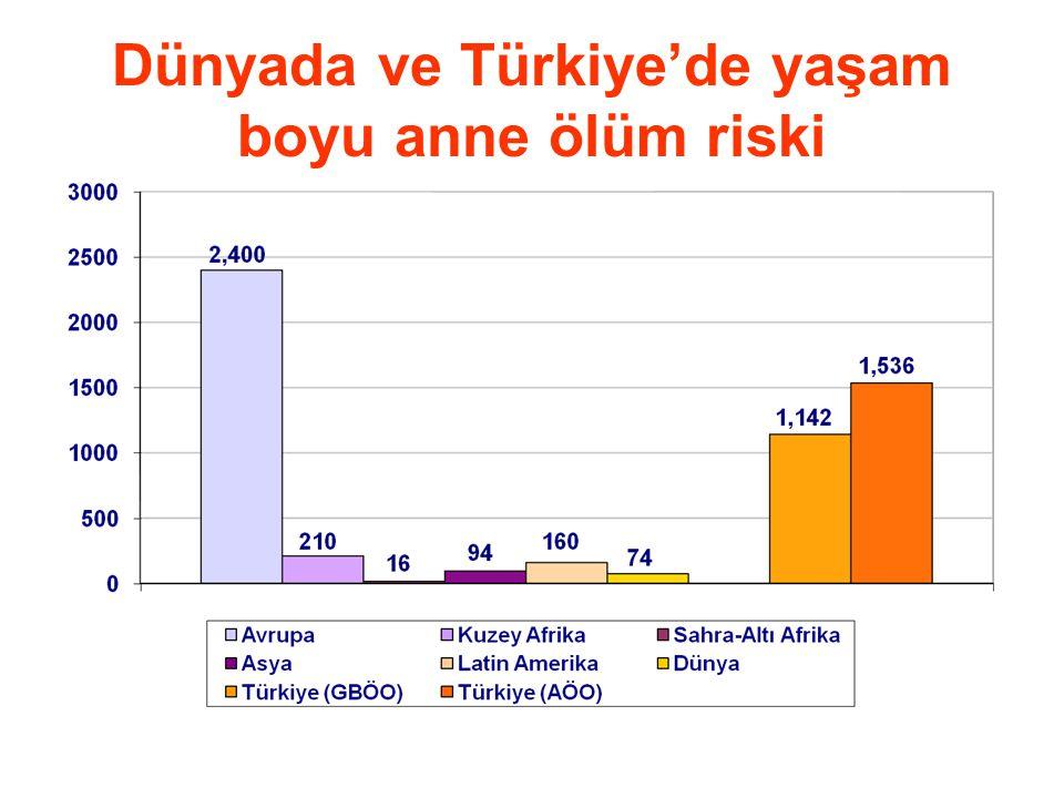 Dünyada ve Türkiye'de yaşam boyu anne ölüm riski