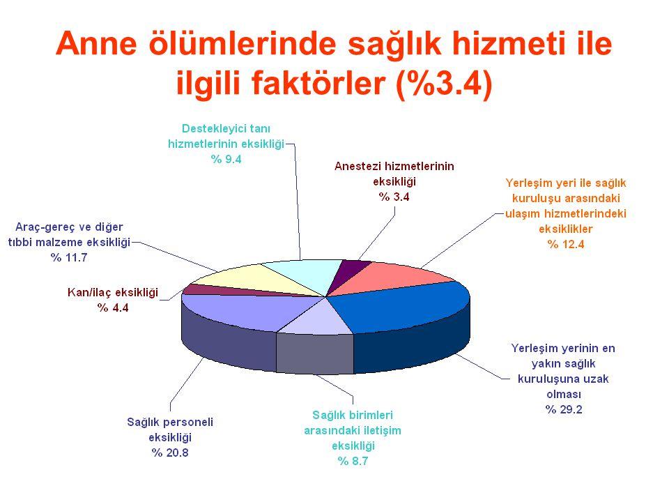 Anne ölümlerinde sağlık hizmeti ile ilgili faktörler (%3.4)