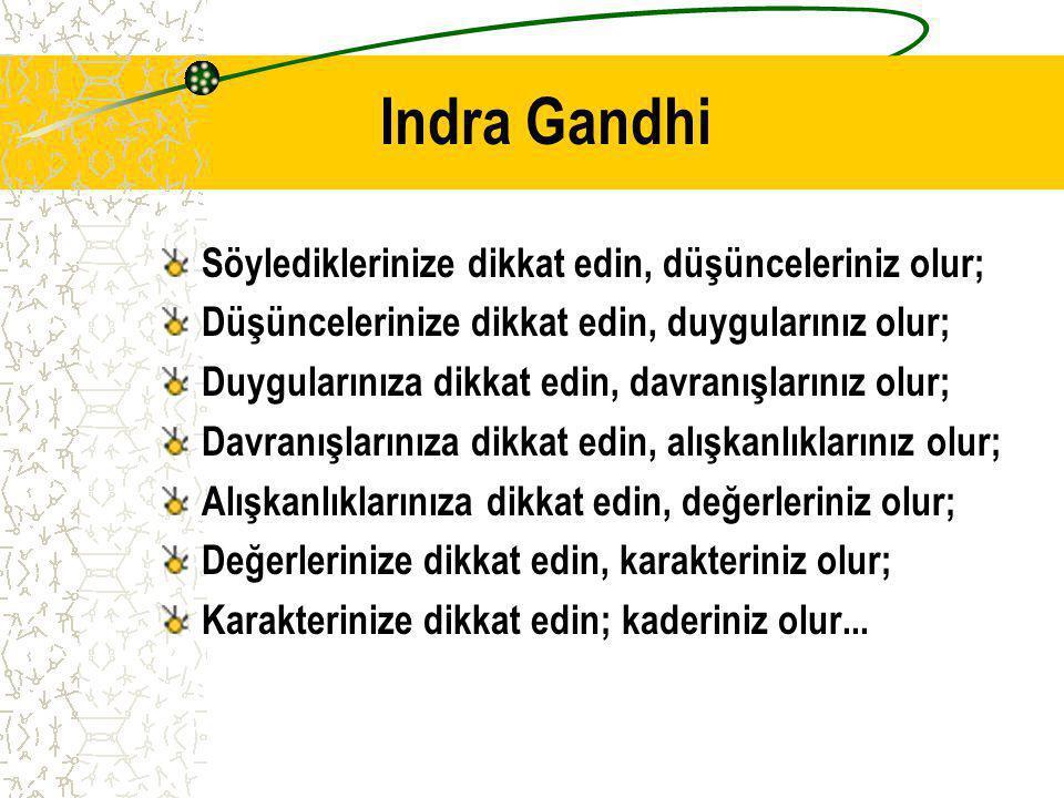 Indra Gandhi Söylediklerinize dikkat edin, düşünceleriniz olur;