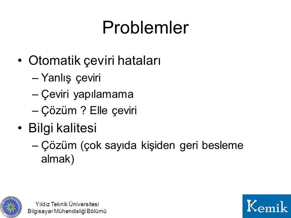 Problemler Otomatik çeviri hataları Bilgi kalitesi Yanlış çeviri