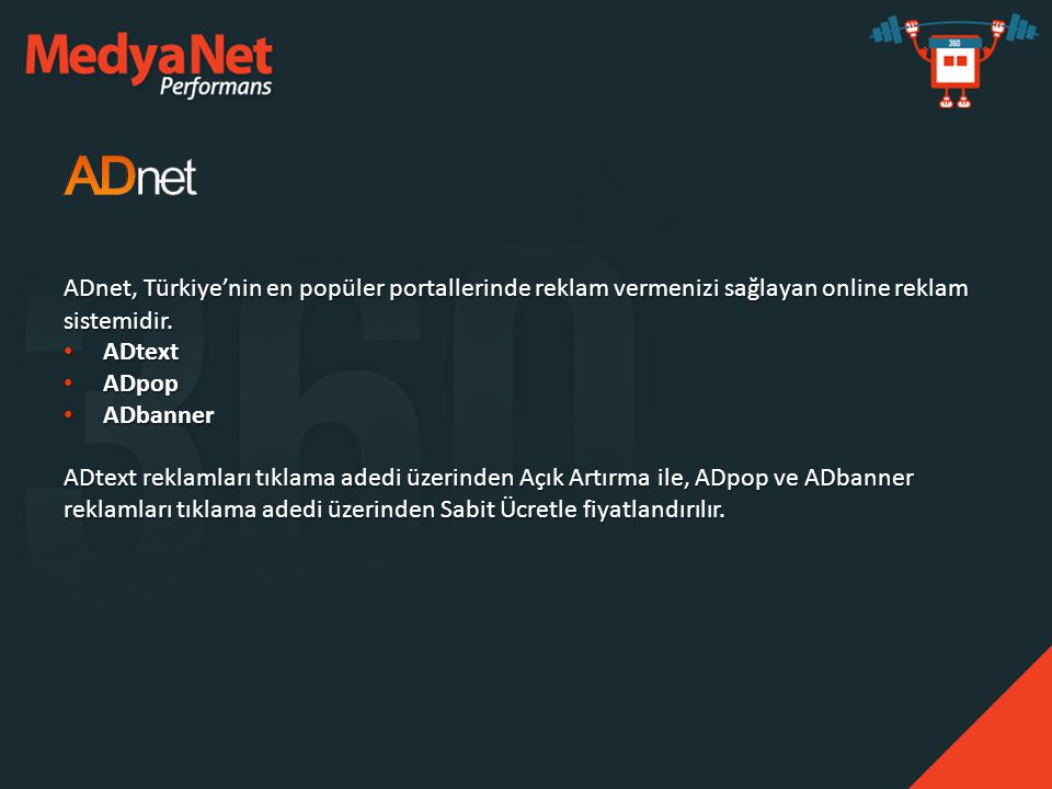 ADnet, Türkiye'nin en popüler portallerinde reklam vermenizi sağlayan online reklam sistemidir.