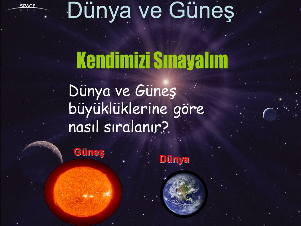 Dünya ve Güneş Kendimizi Sınayalım Dünya ve Güneş
