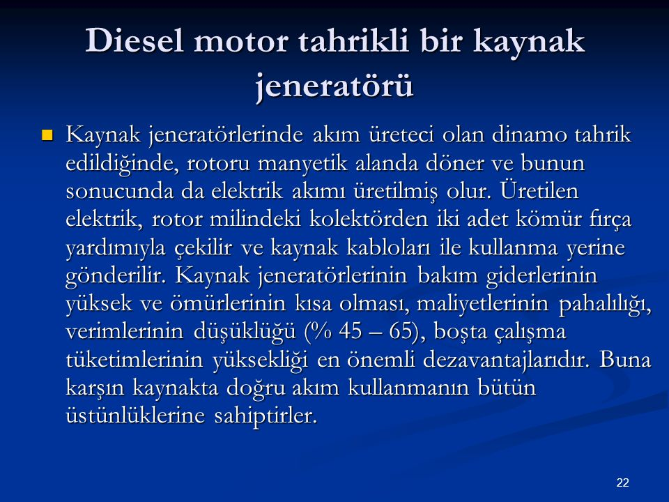 Diesel motor tahrikli bir kaynak jeneratörü