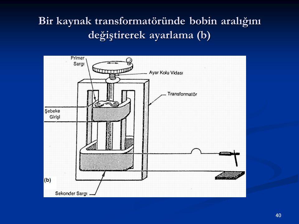 Bir kaynak transformatöründe bobin aralığını değiştirerek ayarlama (b)