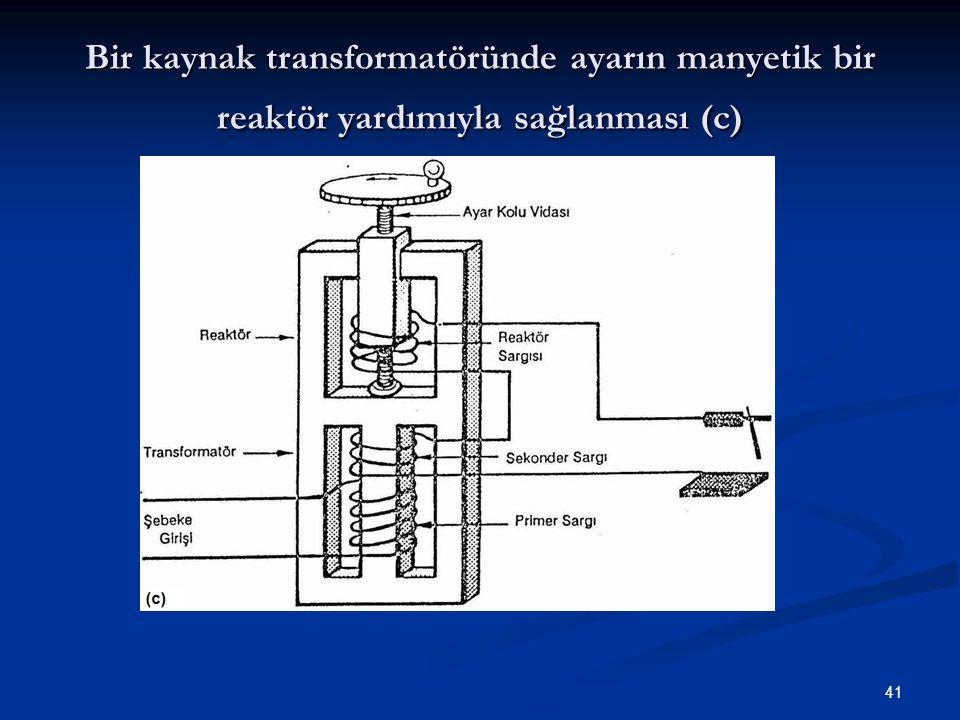 Bir kaynak transformatöründe ayarın manyetik bir reaktör yardımıyla sağlanması (c)