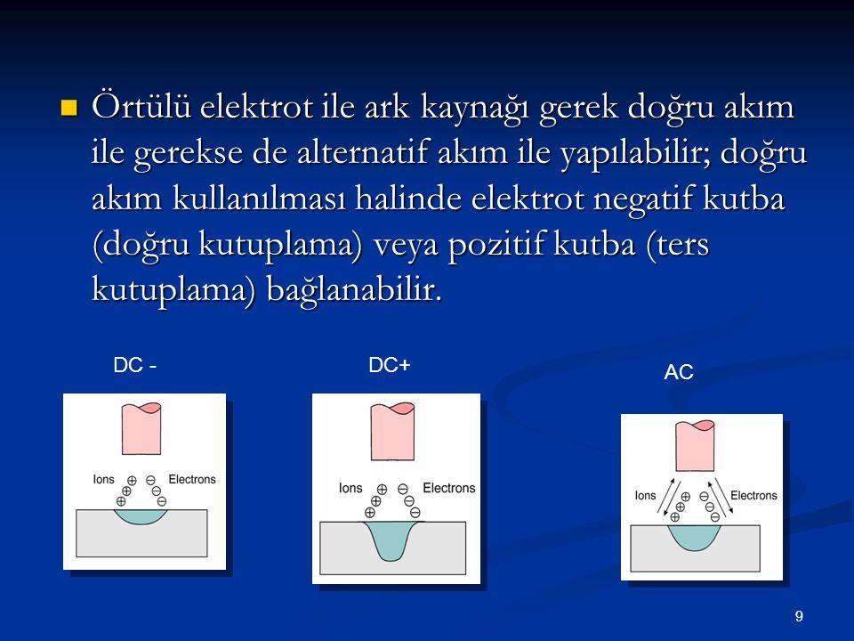 Örtülü elektrot ile ark kaynağı gerek doğru akım ile gerekse de alternatif akım ile yapılabilir; doğru akım kullanılması halinde elektrot negatif kutba (doğru kutuplama) veya pozitif kutba (ters kutuplama) bağlanabilir.