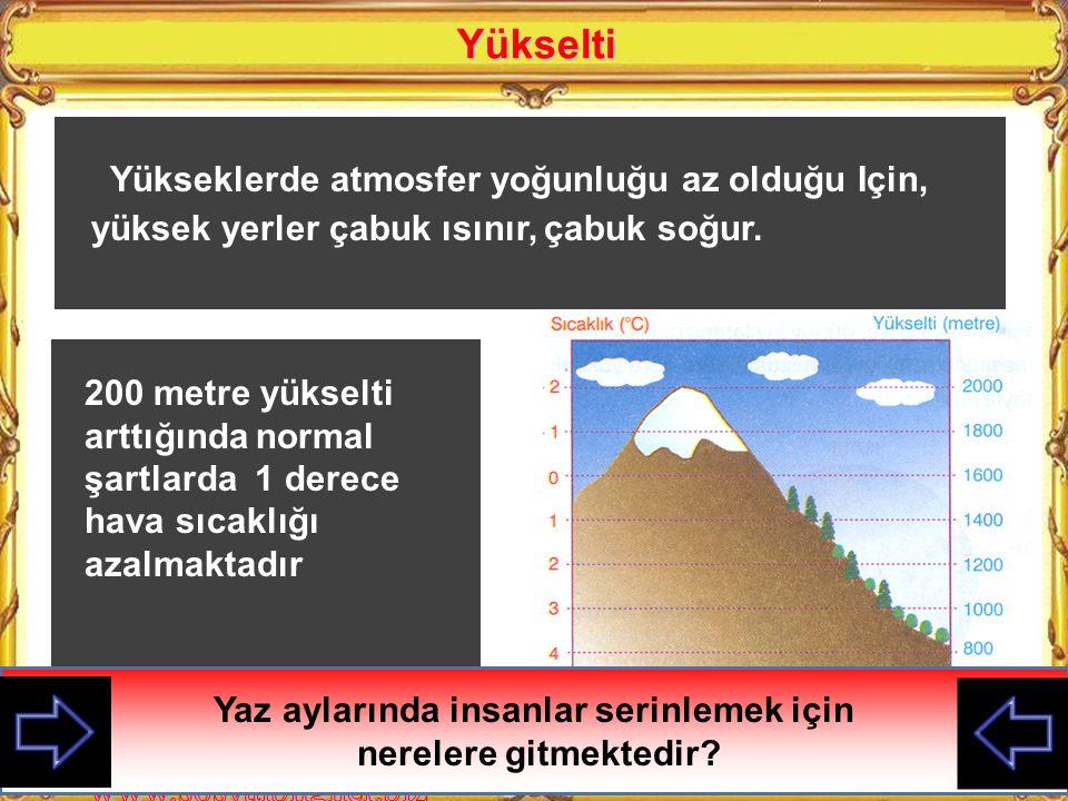 Yükselti Yükseklerde atmosfer yoğunluğu az olduğu Için, yüksek yerler çabuk ısınır, çabuk soğur.