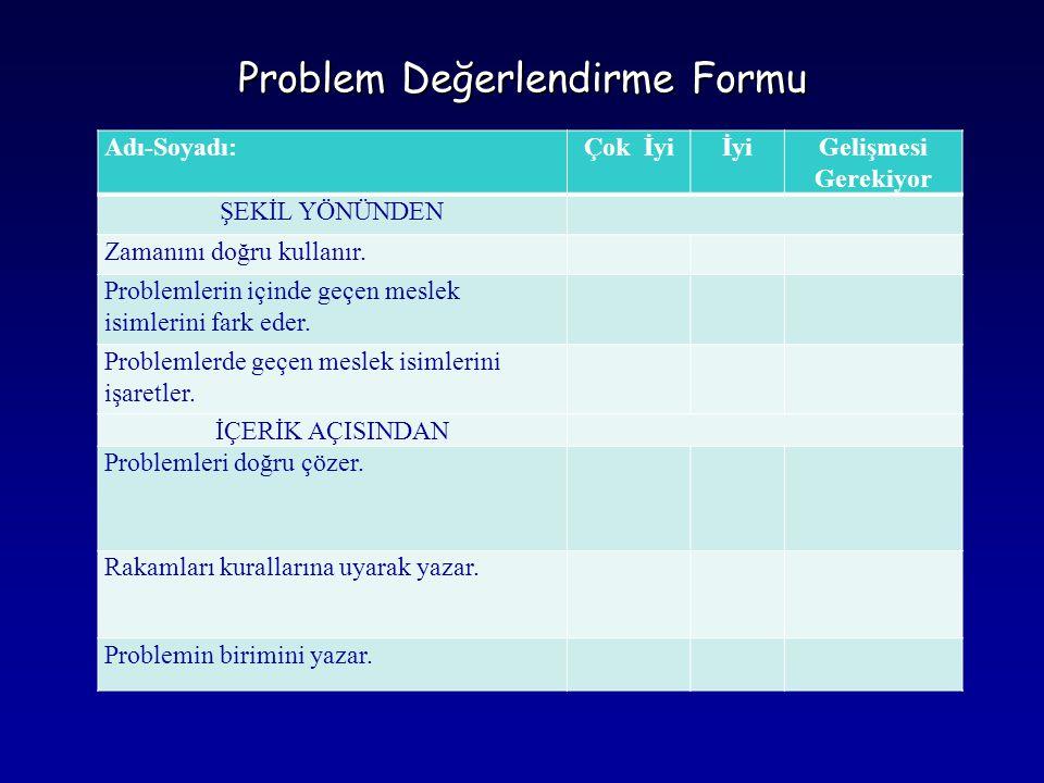 Problem Değerlendirme Formu