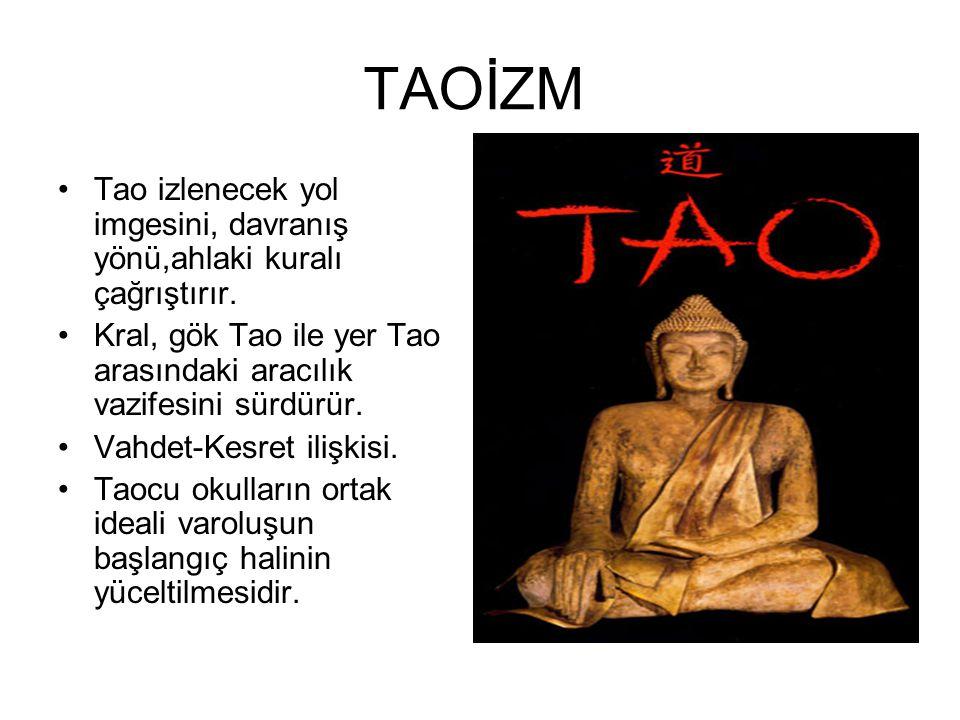 TAOİZM Tao izlenecek yol imgesini, davranış yönü,ahlaki kuralı çağrıştırır. Kral, gök Tao ile yer Tao arasındaki aracılık vazifesini sürdürür.