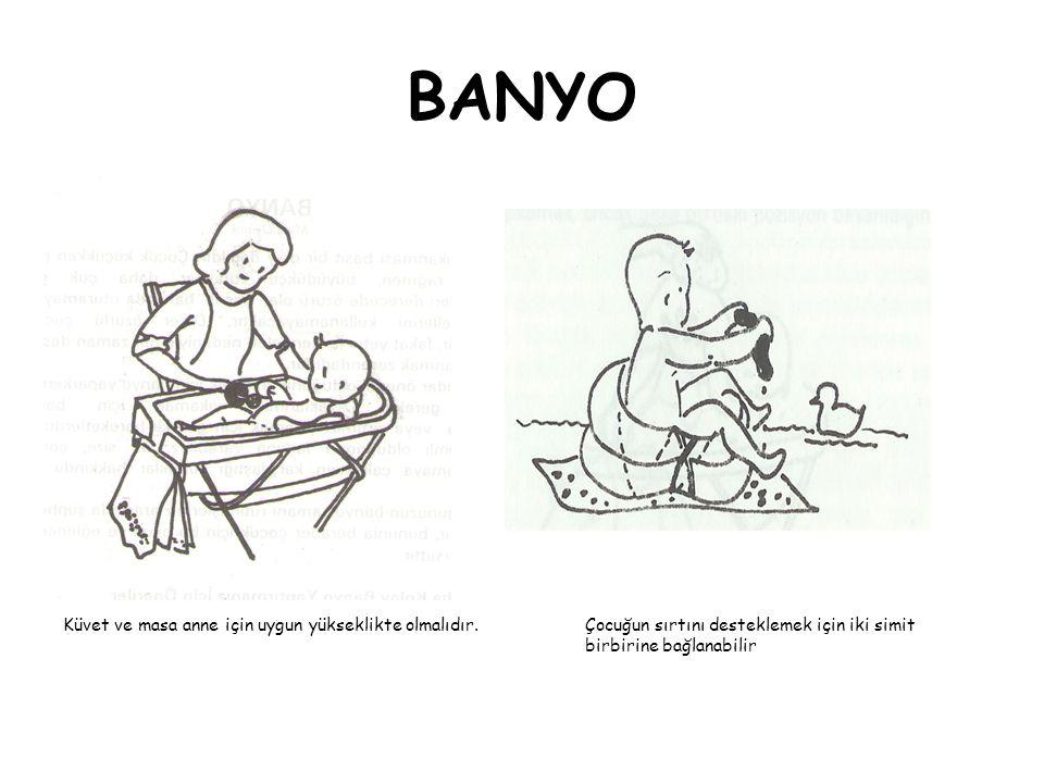 BANYO Küvet ve masa anne için uygun yükseklikte olmalıdır. Çocuğun sırtını desteklemek için iki simit birbirine bağlanabilir.