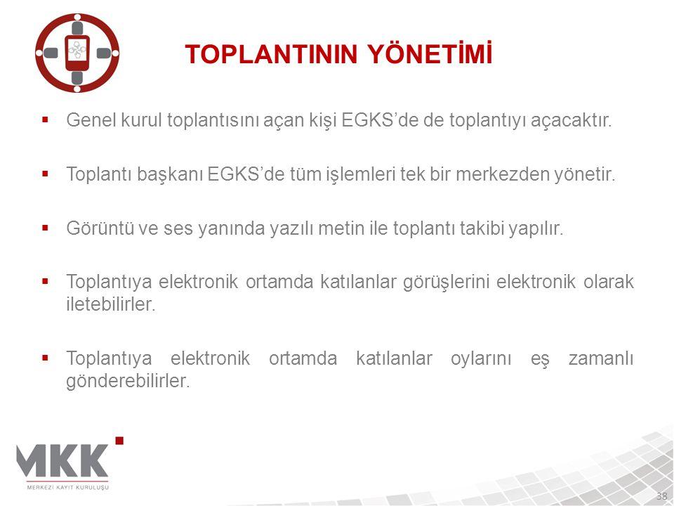 TOPLANTININ YÖNETİMİ Genel kurul toplantısını açan kişi EGKS'de de toplantıyı açacaktır.