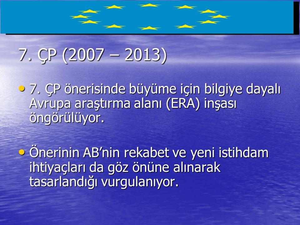 7. ÇP (2007 – 2013) 7. ÇP önerisinde büyüme için bilgiye dayalı Avrupa araştırma alanı (ERA) inşası öngörülüyor.