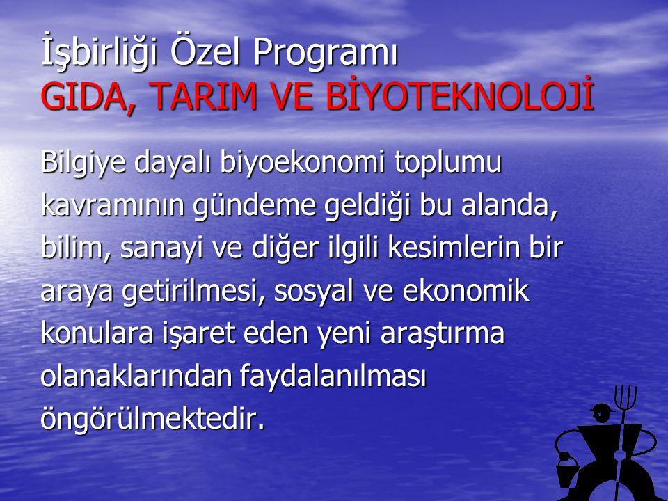 İşbirliği Özel Programı GIDA, TARIM VE BİYOTEKNOLOJİ