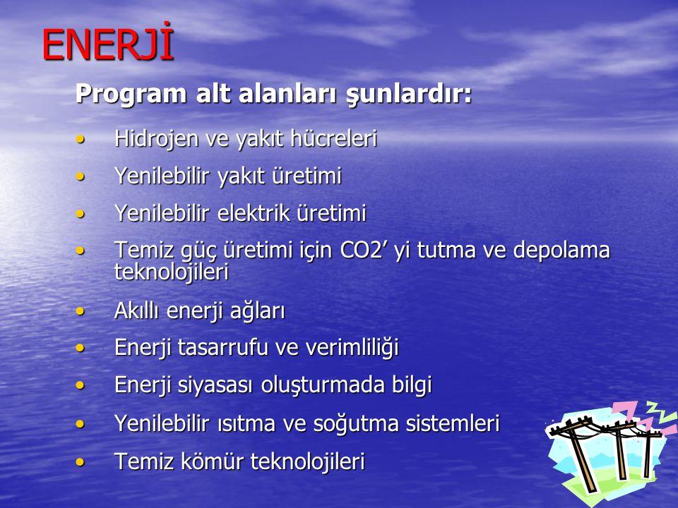 ENERJİ Program alt alanları şunlardır: Hidrojen ve yakıt hücreleri