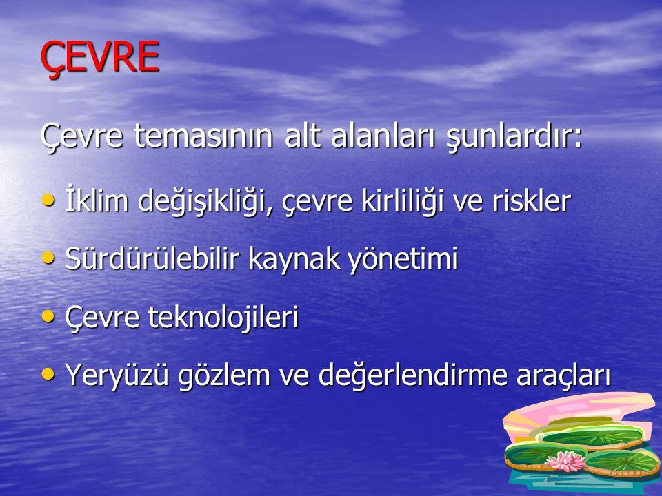 ÇEVRE Çevre temasının alt alanları şunlardır: