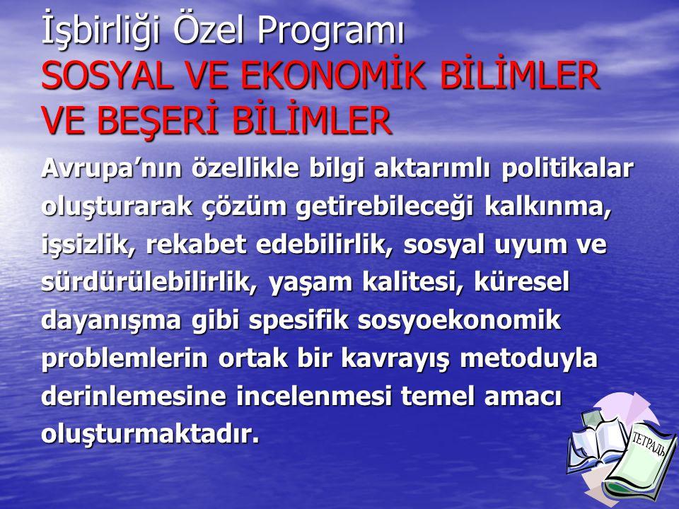 İşbirliği Özel Programı SOSYAL VE EKONOMİK BİLİMLER VE BEŞERİ BİLİMLER