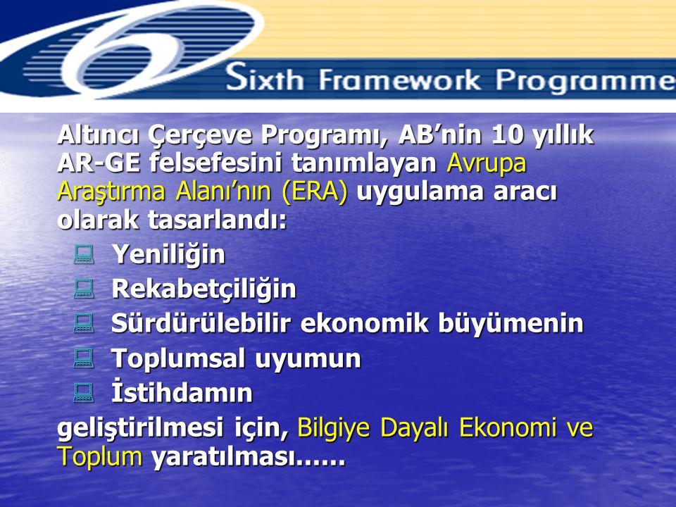 Altıncı Çerçeve Programı, AB'nin 10 yıllık AR-GE felsefesini tanımlayan Avrupa Araştırma Alanı'nın (ERA) uygulama aracı olarak tasarlandı: