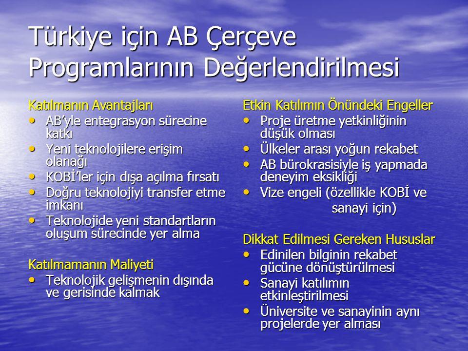 Türkiye için AB Çerçeve Programlarının Değerlendirilmesi