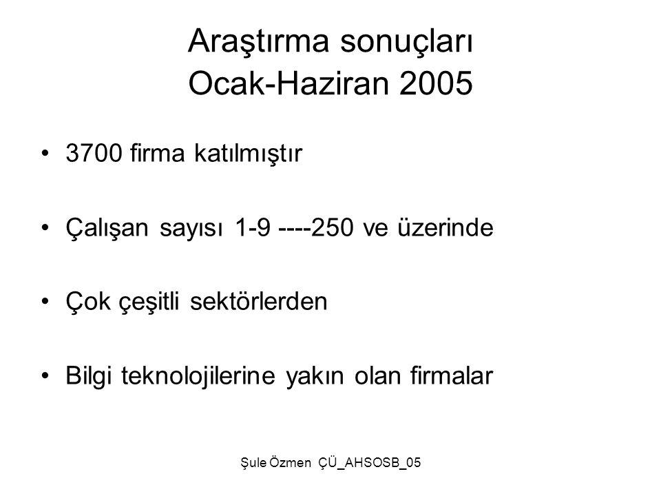 Araştırma sonuçları Ocak-Haziran 2005