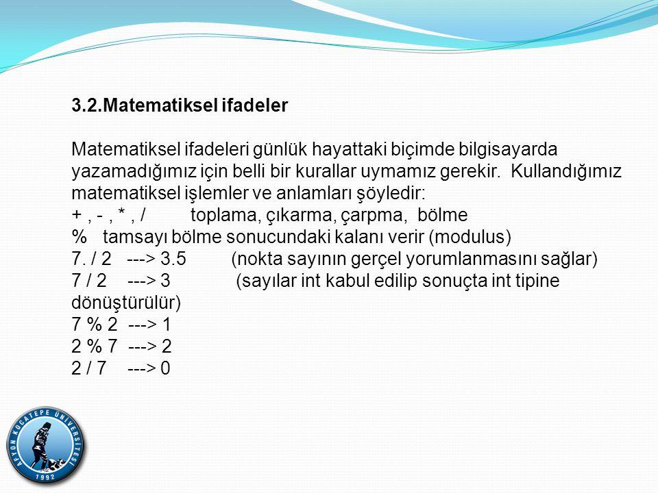 3.2.Matematiksel ifadeler