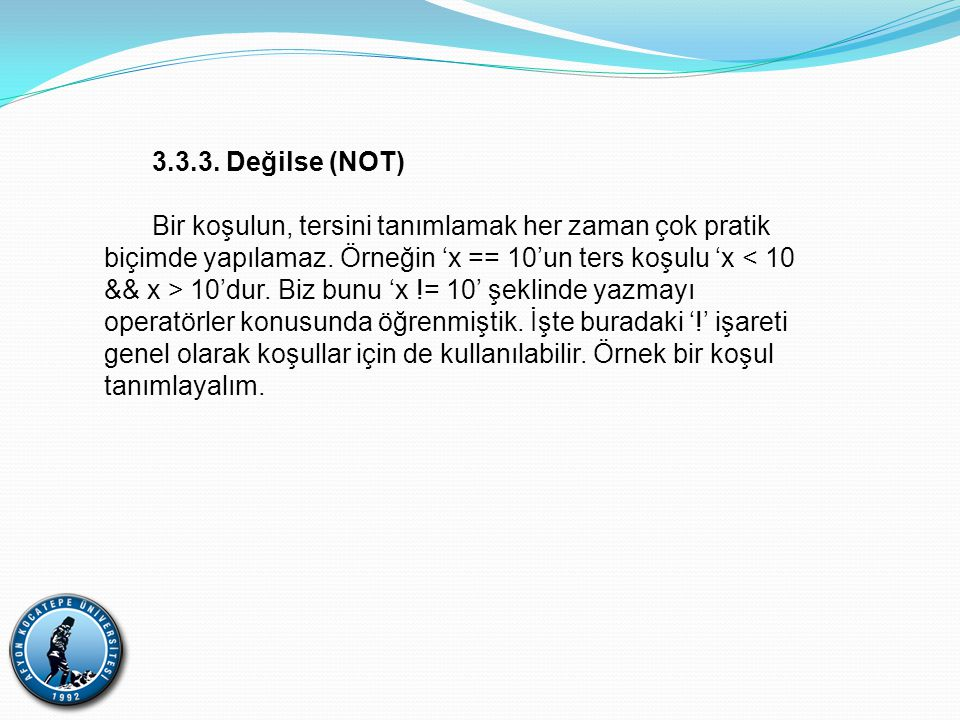 3.3.3. Değilse (NOT)